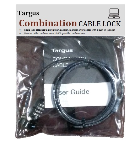 CABLE DE SEGURIDAD TARGUS P/NOTEBOOK COMBINATION LOCK (ASP61LA)