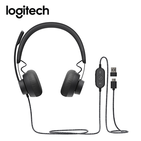 AUDIFONO C/MICROF. LOGITECH B2B ZONE WIRED USB/USB-C TEAMS BLACK (981-000871)