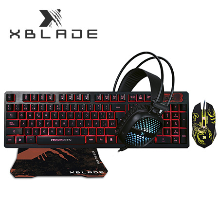 TECLADO XBLADE GAMING + MOUSE + AUDIFONO + PAD ASSASSIN X KMH409 (PN GXB-KMHP409)