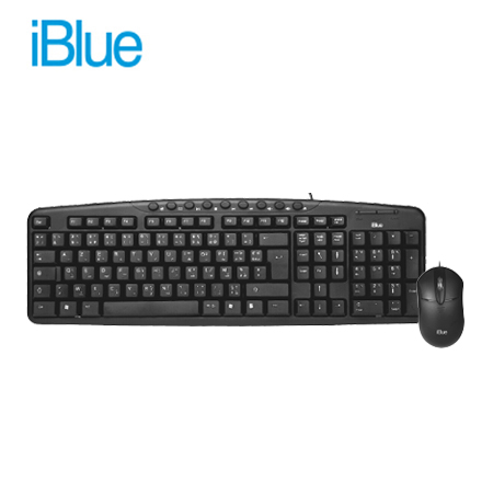 TECLADO IBLUE + MOUSE MULTIMEDIA OPTICO DPI 1200 (PN 78873-BK)