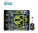 KIT PAD + MOUSE IBLUE RETRACTIL USB SKULL (PN XMK-886-SK)