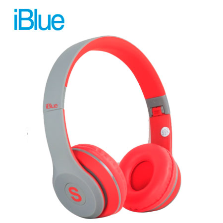 AUDIFONO C/MICROF. IBLUE SCREAM S019 BLUETOOTH/FM/MICRO SD GREY/RED (PN S019-GR)