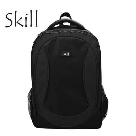 "MOCHILA SKILL BACKPACK 600D GRID NYLON 15.6"""" BLACK/GREY (PN EB9012-BK)"