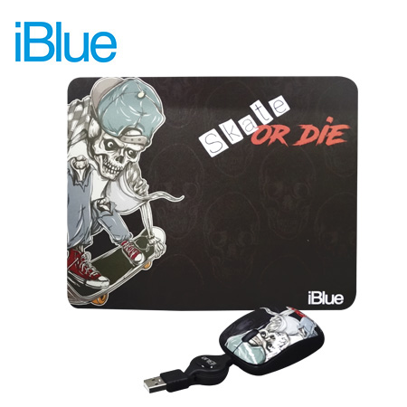 KIT PAD + MOUSE IBLUE RETRACTIL USB HIP STREET V2 (PN XMK-886-HS)