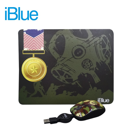 KIT PAD + MOUSE IBLUE RETRACTIL USB MILITARY (PN XMK-886-MT)