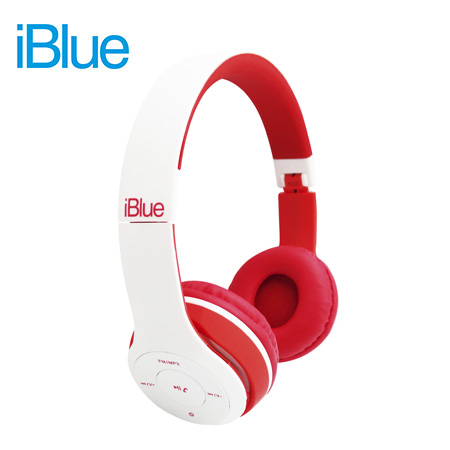 AUDIFONO C/MICROF. IBLUE SCREAM S019 BLUETOOTH/FM/MICRO SD WHITE/RED (PN S019-WR)**