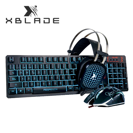 TECLADO XBLADE GAMING + MOUSE + AUDIFONO ASSASSIN KMH408 (PN GXB-KMH408)