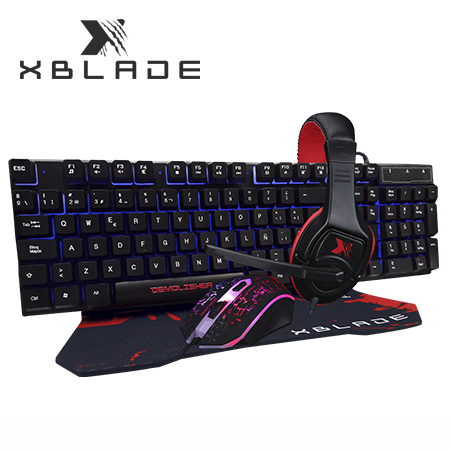 TECLADO XBLADE GAMING + MOUSE + AUDIFONO + PAD DEMOLISHER KMHP370 (PN GXB-KMHP370)